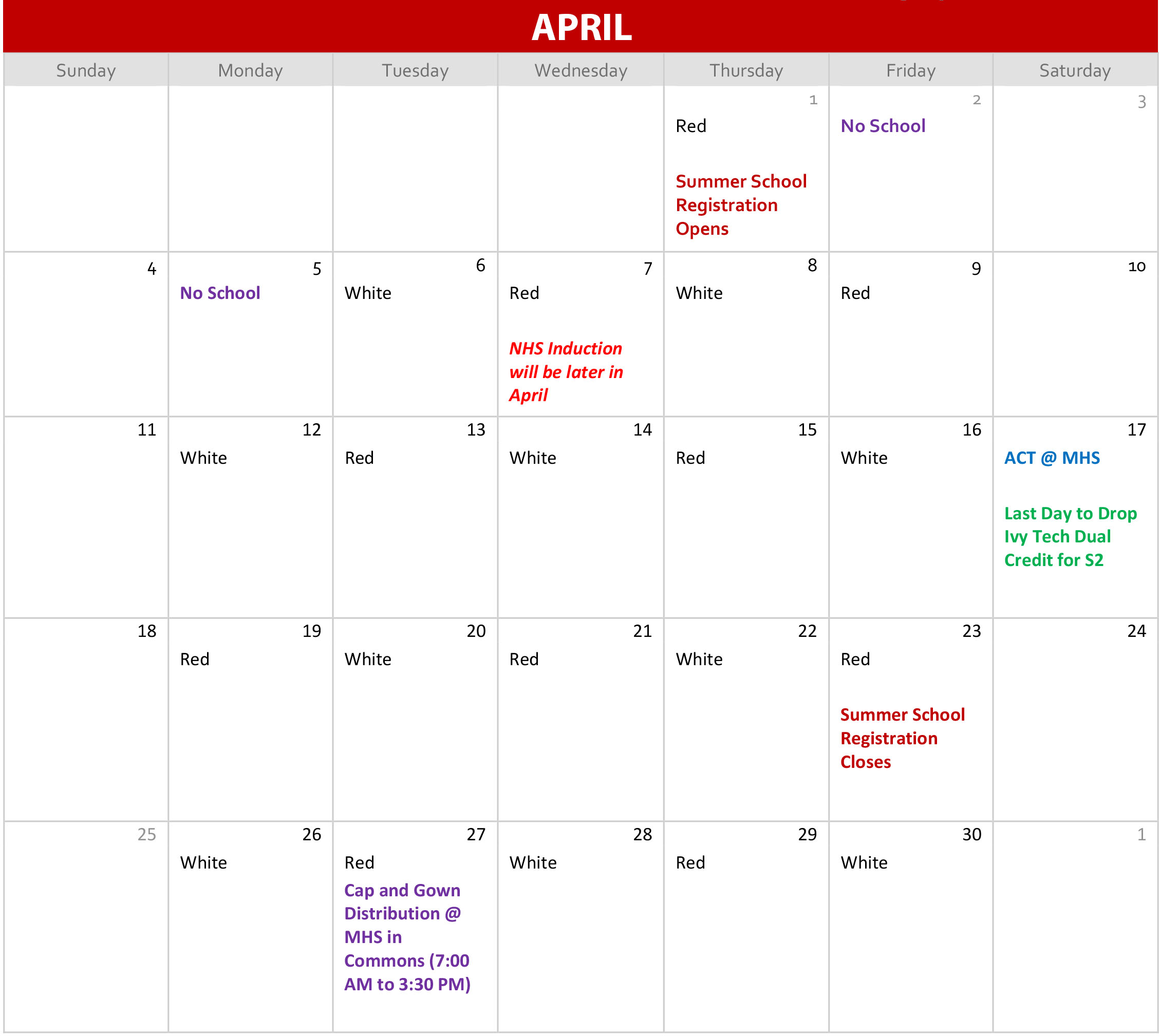 Red and White April Calendar
